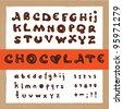 Hand drawn vector dark chocolate alphabet - stock photo