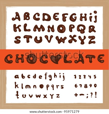 Hand drawn vector dark chocolate alphabet - stock vector
