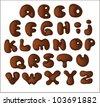 Hand drawn vector dark chocolate alphabet. Isolate / ?hocolate alphabet - stock photo