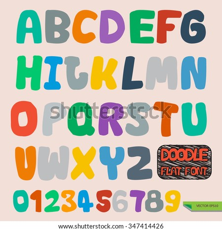 Hand drawn vector doodle flat font and numbers.