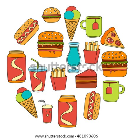 Hand drawn vector doodle icons for fast food menu, restaraunt
