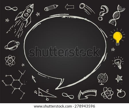 Hand drawn vector doodles - education, science and learning with school objects  - stock vector