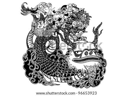 Hand drawn vector dragon. - stock vector