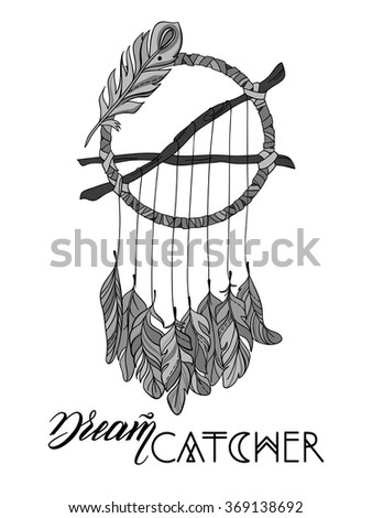 Hand drawn Vector Dreamcatcher. T-shirts print or tattoo - stock vector
