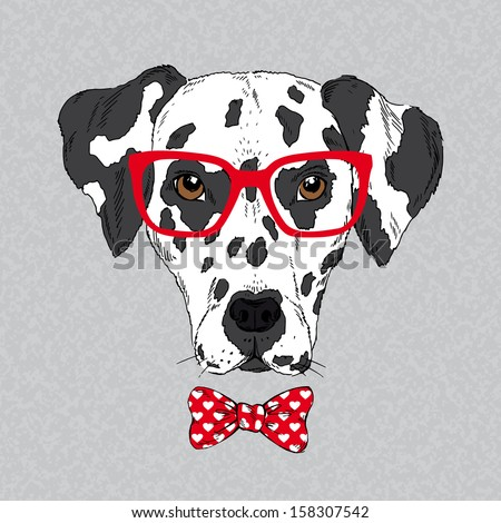 Hand Drawn Vector Fashion Portrait of Dalmatian - stock vector