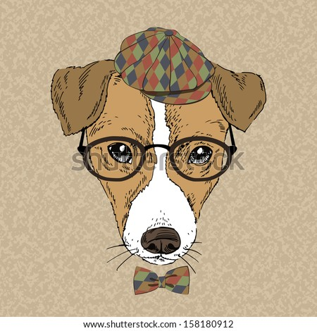 Hand Drawn Vector Fashion Portrait of Jack Russell Terrier - stock vector