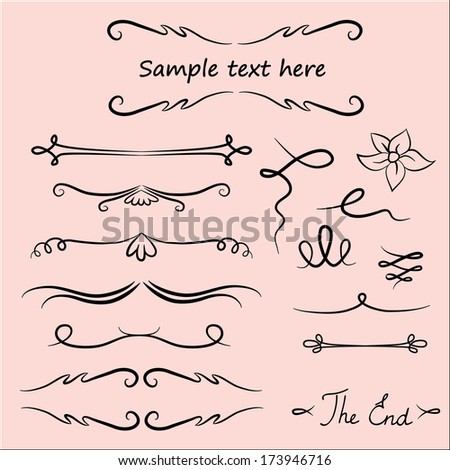 Hand Drawn Vector Flourishes, Accent Text (vector) - stock vector