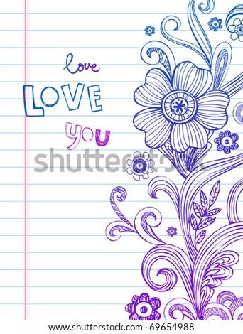 Hand-Drawn vector Flower and Swirls - stock vector