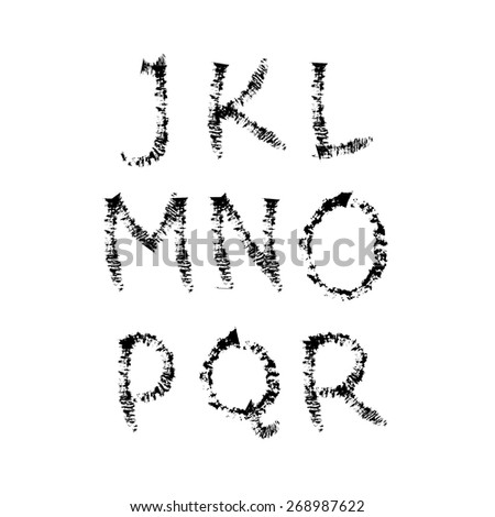 Hand-drawn vector font. Sloppy brush strokes. Separate letters J, K, L, M, N, O, P, Q, R - stock vector