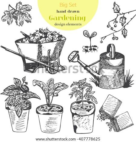 Hand drawn vector garden tools garden stock vector for Gardening tools drawing