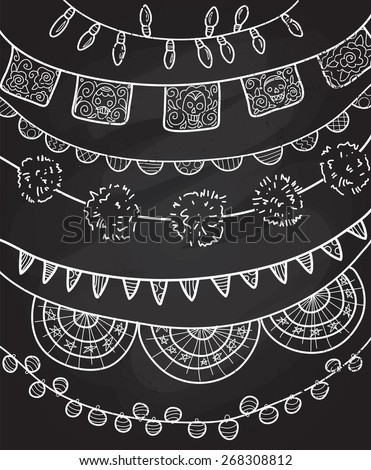 Hand Drawn Vector Garlands and Bunting Flags - stock vector