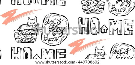 Hand drawn vector graphic seamless pattern of cat in pottle with speech bubble and let's stay in bed phrase.Design for home decor,paper,textile, pets store,wallpaper,invitation card background,vet