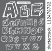 hand drawn vector grunge alphabet. font set - stock vector