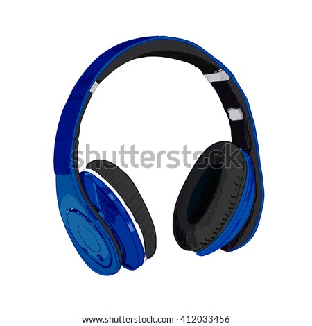 Hand drawn VECTOR headphones isolated on white. Blue  - stock vector