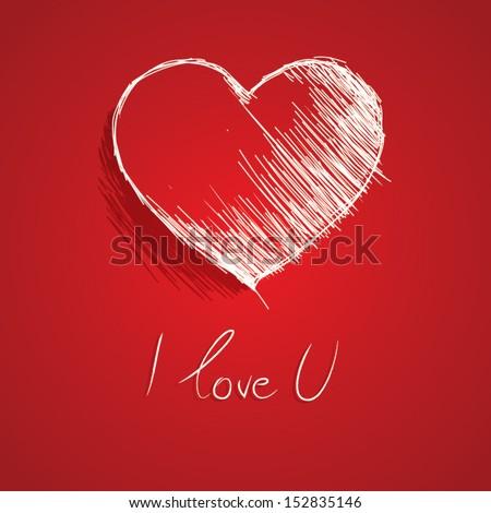 Hand drawn vector heart. - stock vector
