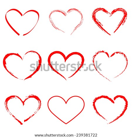 Hand drawn vector heart set with different tools like brushes, chalk, ink. - stock vector
