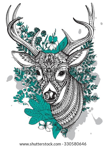 Hand drawn vector horned deer with high details ornament, flowers and herbs on white background. Black, white and mint colors - stock vector