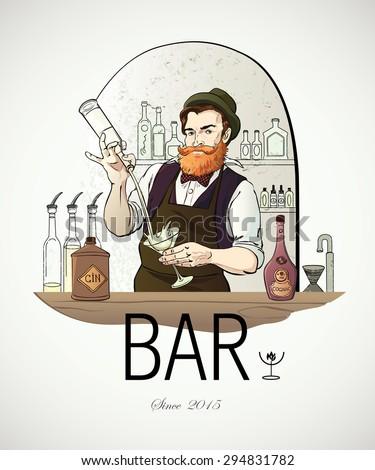 Hand drawn vector illustrated logo - Barman in work - stock vector