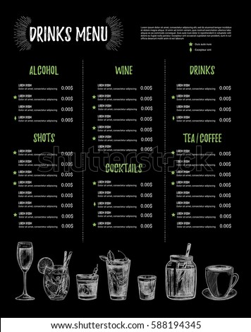 hand drawn vector illustration bar menu stock vector