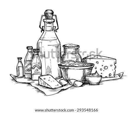 Hand drawn vector illustration -  Farmers dairy products. Grocery store. Supermarket. - stock vector