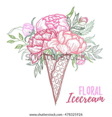 Hand drawn vector illustration - fashion bouquet of peonies, leaves, and blossom in shape ice cream. Floral design elements. Perfect for invitations, greeting cards, wedding invitations, posters etc