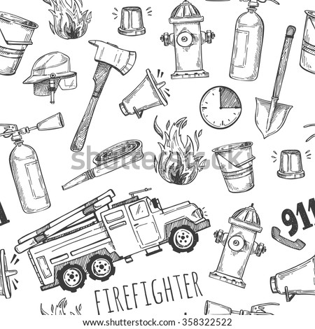 Hand drawn vector illustration - firefighter. Seamless pattern - stock vector