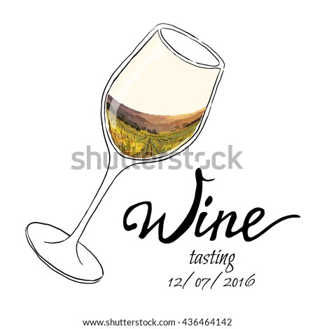Hand drawn vector illustration  glass of wine with painting  grape valley.  - stock vector