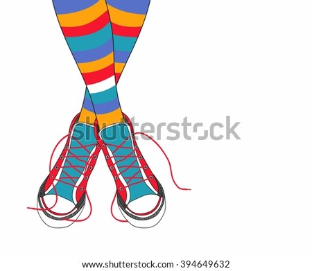 Hand drawn vector illustration his feet in sneakers and multicolored striped stockings. - stock vector