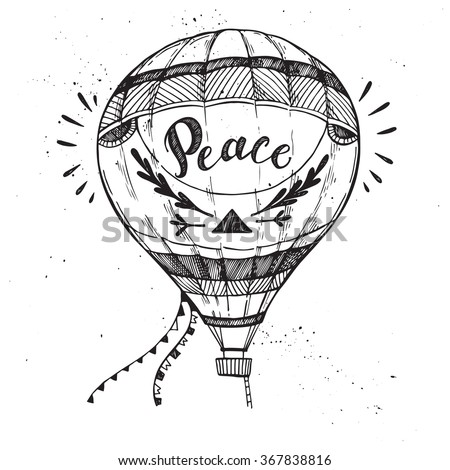 hand drawn vector illustration hot air balloon in the sky sketch