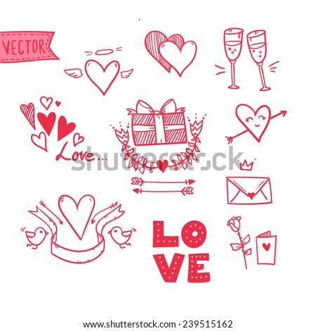 Hand drawn vector illustration - I love you doodle icon set isolated - stock vector