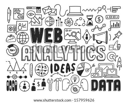 Hand drawn vector illustration icons set of web analytics and ideas in optimization of website search information doodles elements. Isolated on white background - stock vector