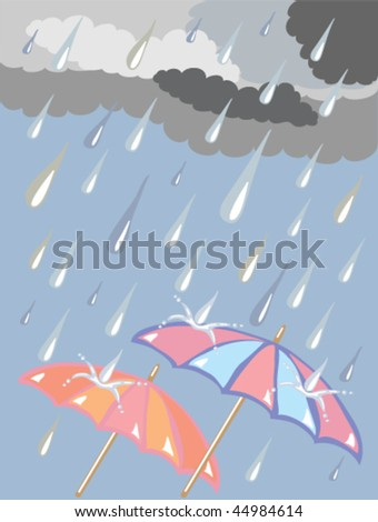 hand drawn vector illustration in eps format of raindrops falling from dark clouds onto two colorful umbrellas