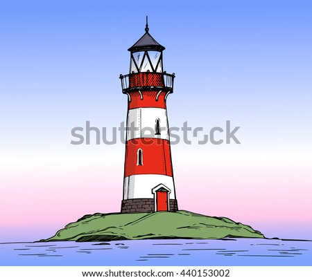 Hand drawn vector illustration - Lighthouse on the sea. Colorful background of Landscape nature - stock vector