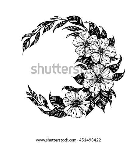 Hand drawn vector illustration - moon sign with flowers and leaves. Perfect for invitations, greeting cards, quotes, tattoo, textiles, blogs, posters etc. - stock vector