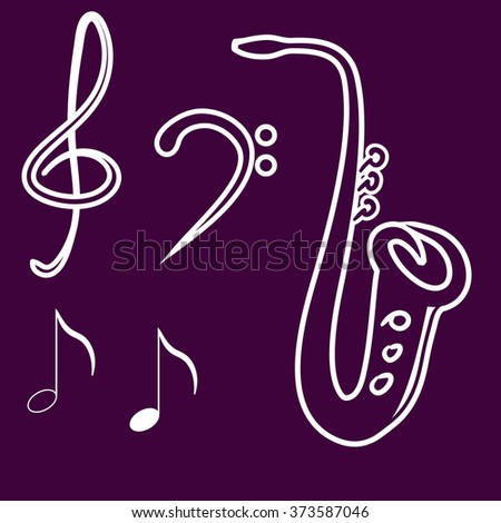 Hand drawn vector illustration - music elements for your design, Saxophone, treble clef, bass clef, musical notes