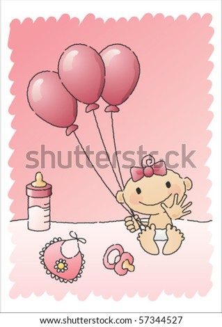 Hand-drawn vector illustration of a baby girl with baby items, such as a bottle of milk, a napkin, a pacifier and balloons. - stock vector