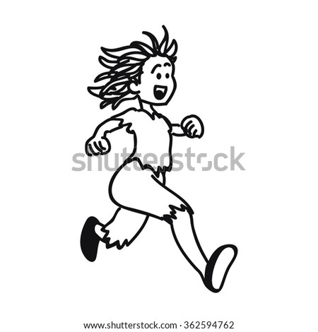 hand drawn vector illustration of a cute girl running