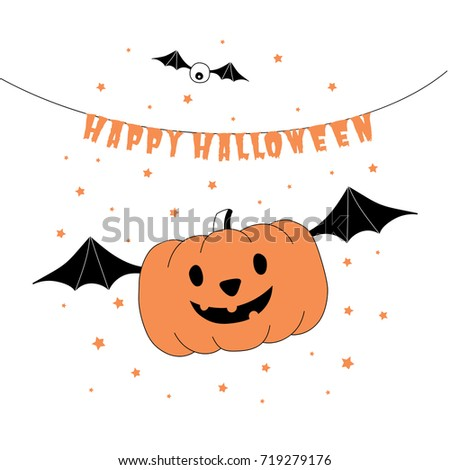 Hand Drawn Vector Illustration Of A Funny Cartoon Pumpkin Flying On Bat  Wings,, With