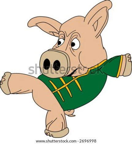 Hand drawn vector illustration of a kickboxing pig
