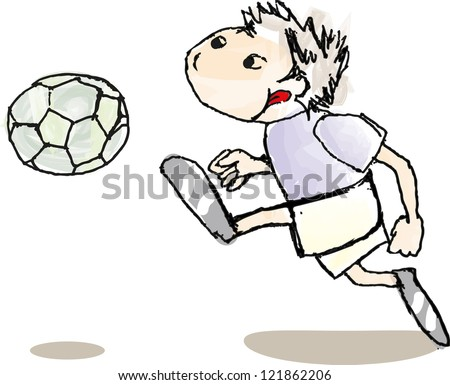 Hand drawn vector illustration of a little boy playing football, soccer and kicking the ball isolated on a white background