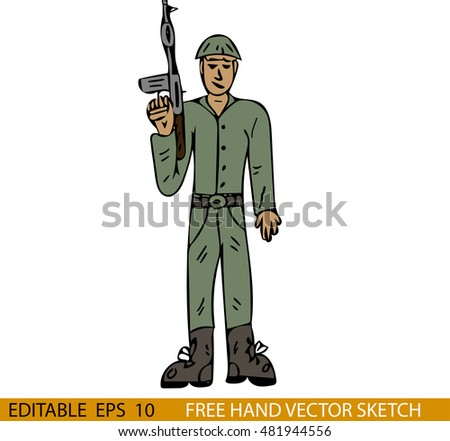 Hand drawn vector illustration of a soldier.