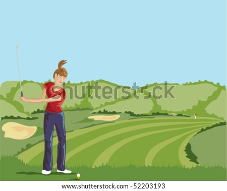 hand drawn vector illustration of a young lady golfer about to play a shot off the tee with view down the fairway and blue sky background - stock vector