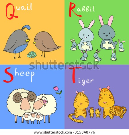Hand drawn vector illustration of alphabet animals from Q to T - stock vector
