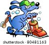 Hand-drawn Vector illustration of an Dog Carpet Cleaner - stock photo