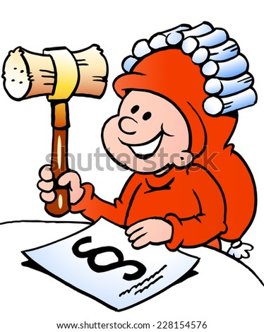 Hand-drawn Vector illustration of an Happy Christmas Elf studying law