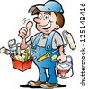Hand-drawn Vector illustration of an happy Painter Handyman, giving thumb up - stock vector