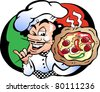 Hand-drawn Vector illustration of an Italian Pizza Baker - stock vector