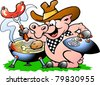 Hand-drawn Vector illustration of an Pig sitting and making BBQ - stock vector