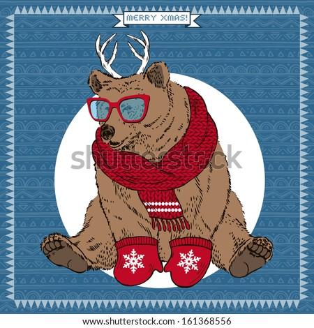 Hand Drawn Vector Illustration of Bear , Christmas Greeting Card Design - stock vector