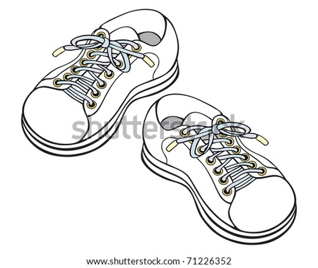 Hand drawn vector Illustration of childrens sneakers